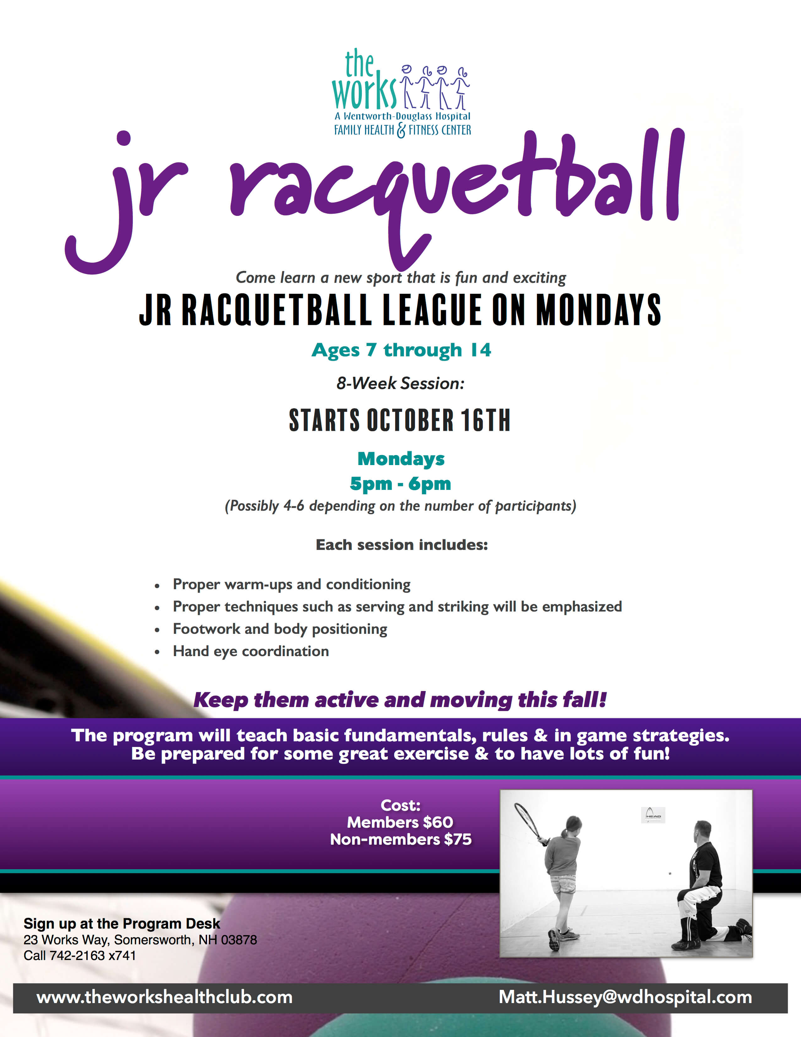 The works health club racquetball for Average cost racquetball court